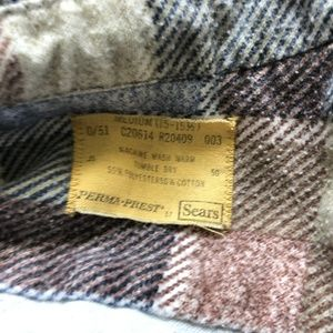 Sears Shirts - Sears Vintage Flannel Shirt Medium Mens Pastel Pla